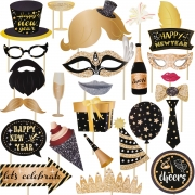 Jovitec 25 Pieces 2020 Happy New Year's Eve Party Photo Booth Props Kit, for New Years Event Party Favors and New Years Decorations Art Crafts, New Years Eve Photo Props (25 Pieces, New Year)