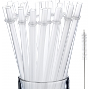 Jovitec 50 Pieces Reusable Drinking Straw Thick Plastic Straws with Cleaning Brush Straw Cleaner (13 Inch)