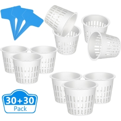 Jovitec 60 Pieces Net Cup Set, Include 30 Pieces Garden Plastic Net Cup 3 Inch Net Cups Slotted Mesh Wide Lip Planting Basket Cup Filter Plant Net Pot with 30 Pieces Plant Labels for Hydroponics
