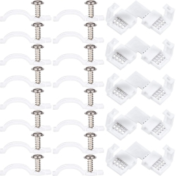 Jovitec 100 Pack Mounting Bracket Kit Strip Light Mounting Brackets, Fixing Clips, with 5 Pieces LED Strip Light Connector, L Shape 4 Pin Connector, 100 Screws Included
