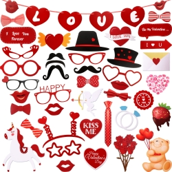 Jovitec 47 Pieces Valentines Day Photo Booth Props Kit, for Valentines Day Event Party Favors and Decorations Art Crafts, Creative Funny Glitter Disguise Props Wedding Decor (47 Pieces, Valentines Day)