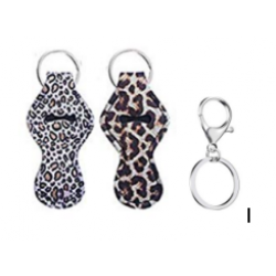 Jovitec 16 Pieces Chapstick Holder Keychain with 16 Metal Key Chains (2 Leopard Pattern)